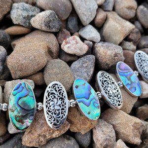 Abalone Plumeria Sterling Silver Bracelet Handmade